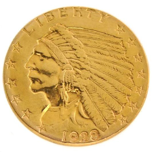 1928 $2.5 U.S Indian Head Type Gold Coin - Investment