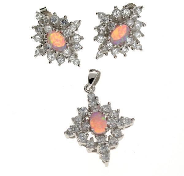 Plat Over Sterl Silver Opal French Cubic Zirconium Set