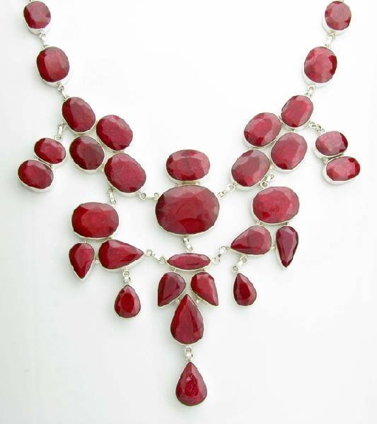 APP: 37k 534CT  Mixed Cut Ruby & Sterl Silver Necklace