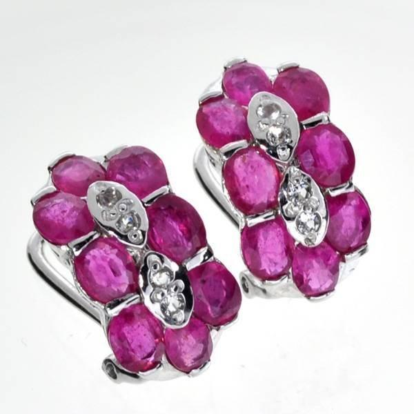 APP: 7k 4CT  Ruby & Topaz Sterl Silver Earrings