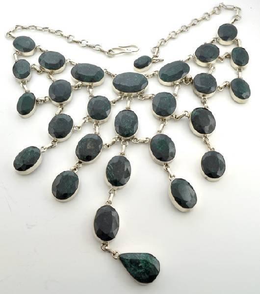 APP: 54k 393CT  Mixed Cut Corundum Silver Necklace