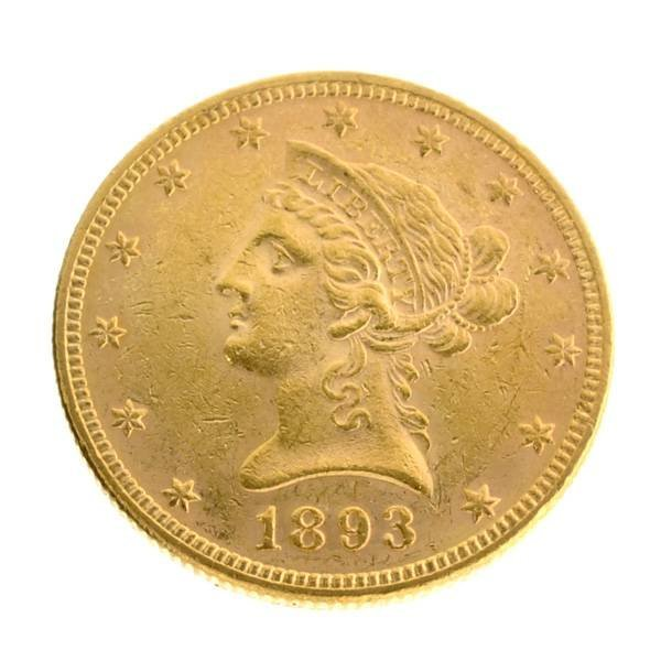 *1893 $10 U.S Liberty Head Type Gold Coin - Investment