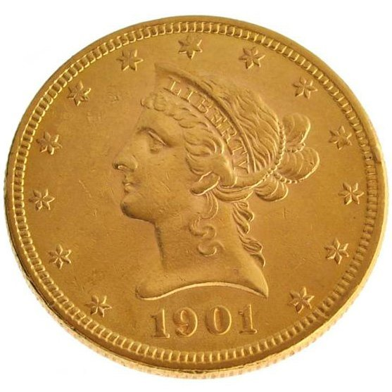 *1901 $10 U.S Liberty Head Type Gold Coin - Investment