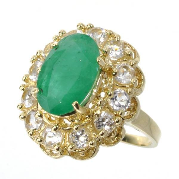 APP: 3.1k 14 kt. Gold, 3.98CT Emerald & Topaz Ring