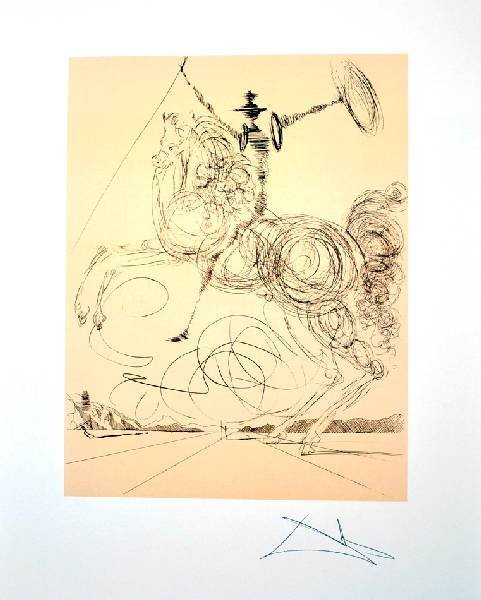 SALVADOR DALI Don Quioxte in Sepia Print, Limited Edn