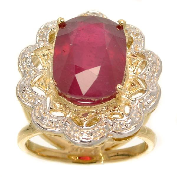 APP: 13k 14kt Yellow & White Gold, 12CT Oval Ruby Ring