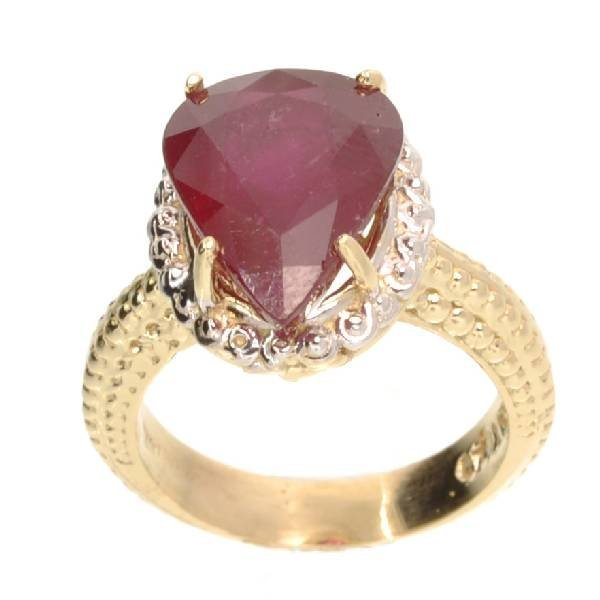 APP: 11k 14kt Yellow & White Gold, 8CT Pear Ruby Ring