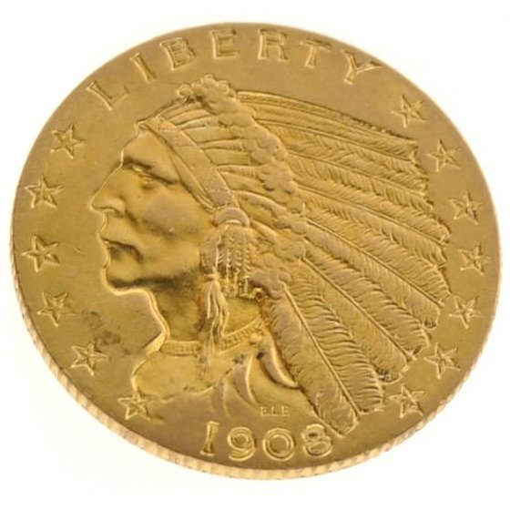 *1908 $2.5 Indian Head Gold Coin - Investment