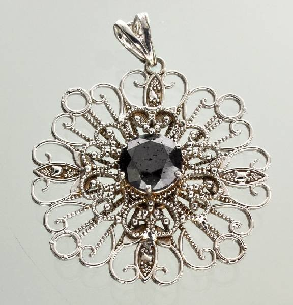 APP: 8k 14kt White Gold 3CT Round Black Diamond Pendant