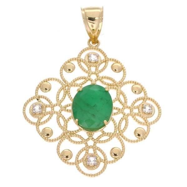 APP: 5k 14 kt Gold, 3.45CT Emerald & Topaz Pendant