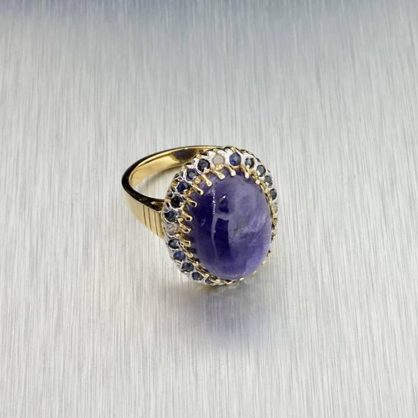 APP: 12k 14kt Gold, Cabochon Tanzanite & Diamond Ring