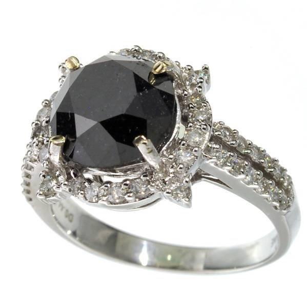 APP: 7k *14 kt White Gold Black & White Diamond Ring
