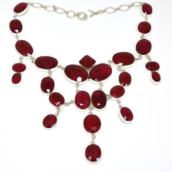 APP: 29k 419CT  Mixed Cut Ruby & Sterl Silver Necklace