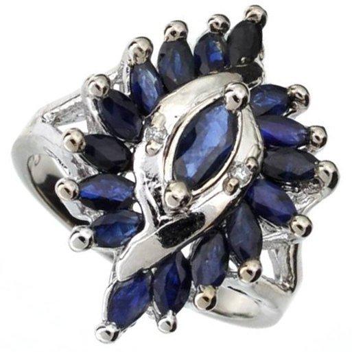 APP: 3k 1CT  Sapphire & Diamond Sterl Silver Ring