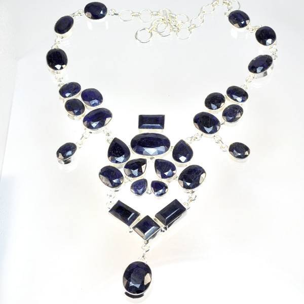 APP: 10k 234CT  Mixed Cut Sapphire & Silver Necklace