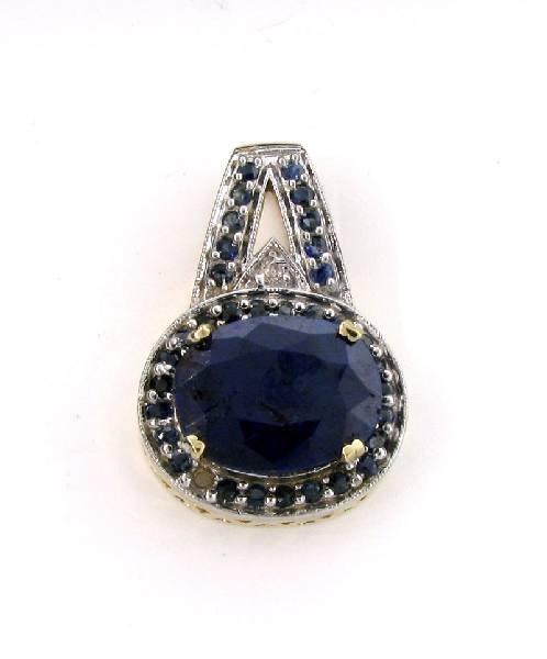 APP: 8.4k 14 kt. Gold, 16.45CT Blue Sapphire Pendant