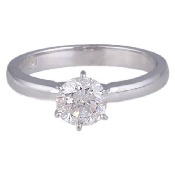 APP: 6k *14kt White Gold, 0.98CT Round Cut Diamond Ring