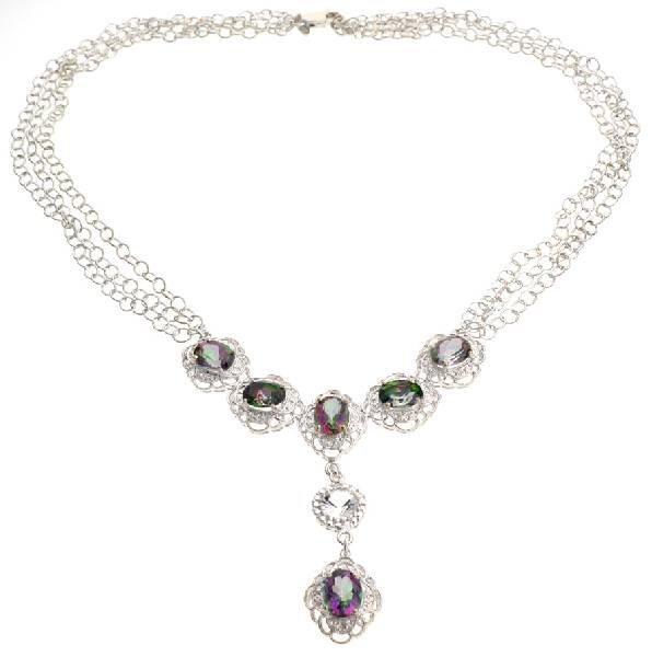 APP: 2k 15CT  Mystic Topaz & Topaz Silver Necklace