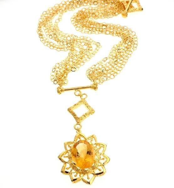 APP: 5k 18CT Oval Cut Citrine 14kt Gold Silver Necklace