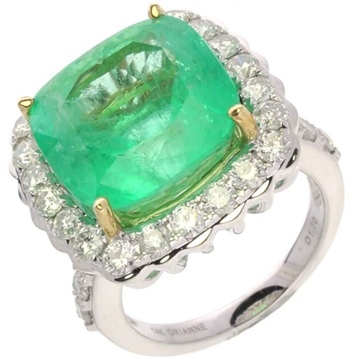 APP: 41k *14kt White Gold, 12CT Emerald & Diamond Ring