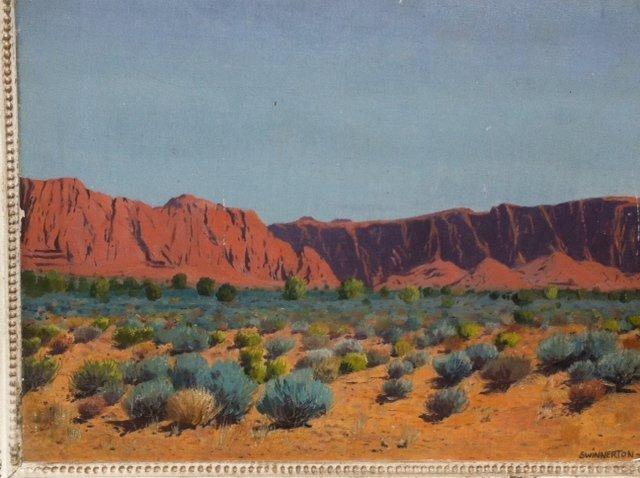 "James Swinnerton - Oil on Board ""Desert Landscape"""