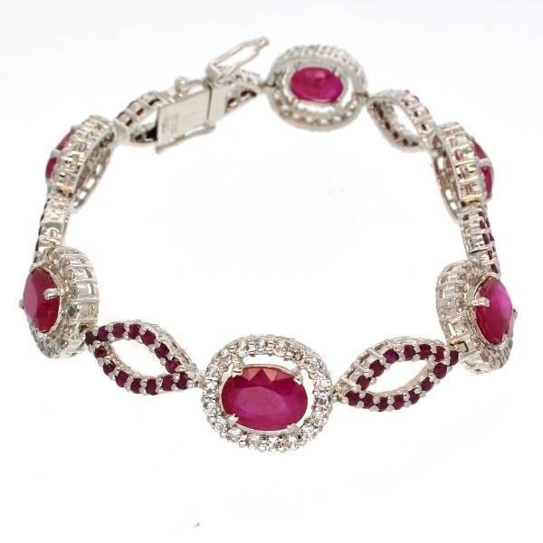 APP: 7k 7CT  Ruby & Platinum Over Sterl Silver Bracelet