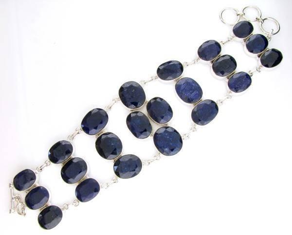APP: 14k 187CT  Oval Cut Sapphire & Silver Bracelet
