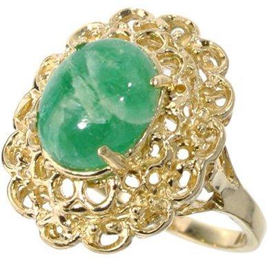 APP: 2k 14kt Gold, 2 CT Oval Cut Cabochon Emerald Ring