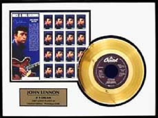 """John Lennon """"Number 9 Dream"""" Gold Single w/Stamp Sheet"""