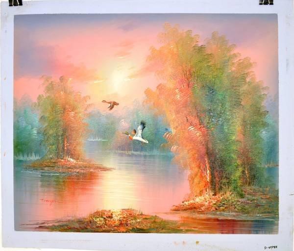 """Oil Painting- Flying Ducks Over Lake- 23.5""""x27"""""""