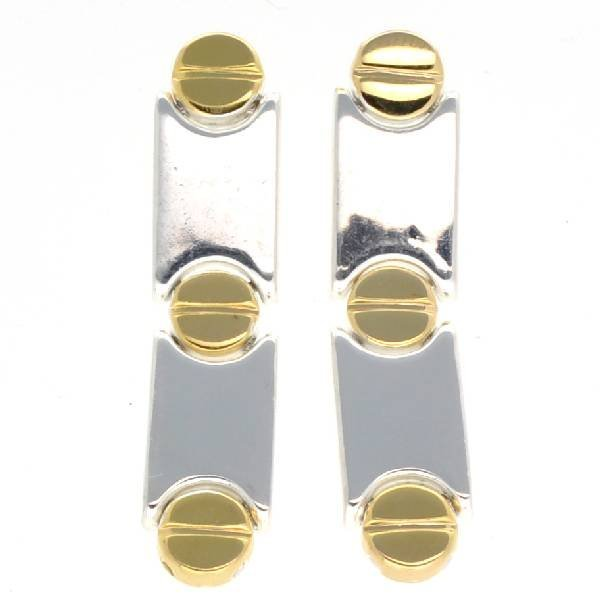 Cartier Style 14kt Gold, Over Sterling Silver Earrings