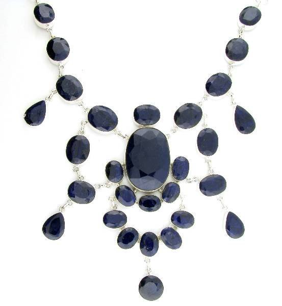 APP: 31k 469CT  Sapphire & Sterling Silver Necklace