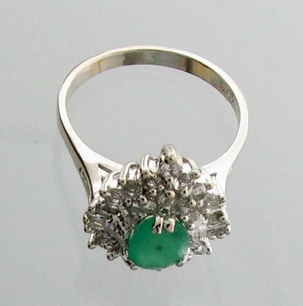 APP: 3k 1CT  Emerald & Diamond Sterl Silver Ring