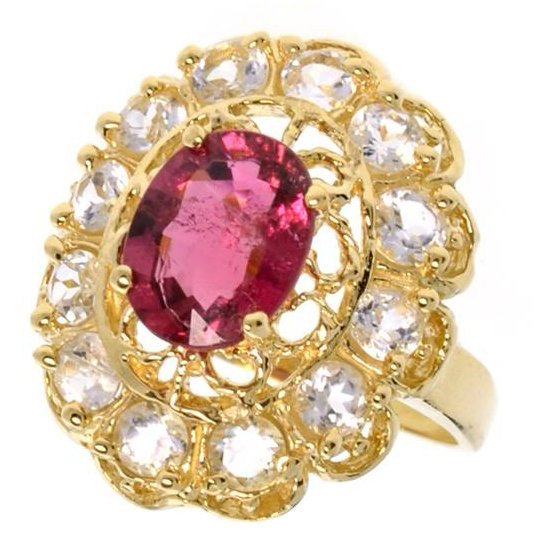 APP: 2k 14kt Gold, 1k Tourmaline & Topaz Ring