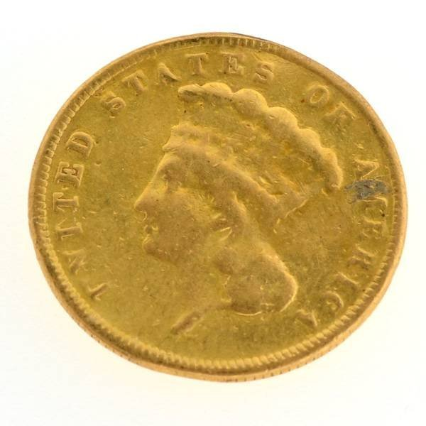 1887 $3 U.S. Princess Indian Head Gold Coin