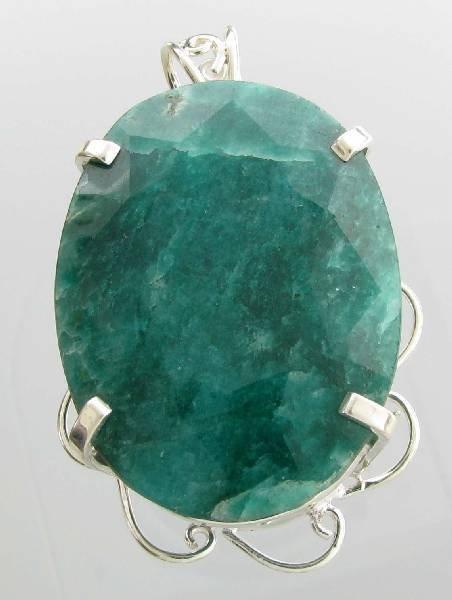 APP: 13k Sebastian 392CT Pear Emerald & Silver Pendant