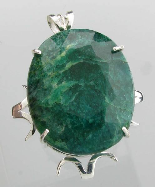 APP: 9k 219CT  Oval Cut Emerald & Sterl Silver Pendant