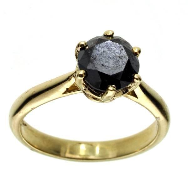 APP: 4k 14 kt Gold 1CT  Round Cut Black Diamond Ring