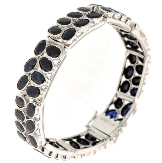 APP: 7k 32CT  Oval Cut Sapphire & Sterl Silver Bracelet