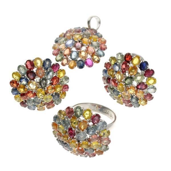 APP: 23k Gemstone Silver Ring, Pendant, & Earrings Set