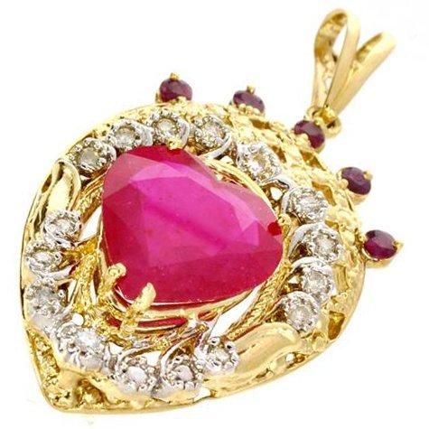 APP: 19k 14kt Yellow/White Gold, Ruby & Diamond Pendant