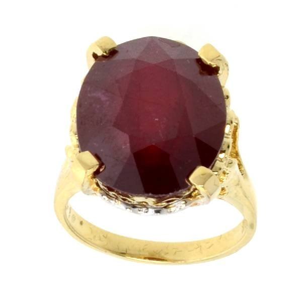 APP: 16.3k 14 kt Gold 14.30CT Oval Cut Ruby Ring
