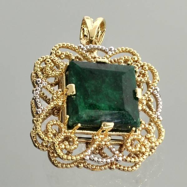 APP: 8k 14kt White & Yellow Gold 9CT Emerald Pendant