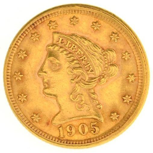 1905 $2.5 U.S Liberty Head Gold Coin - Investment