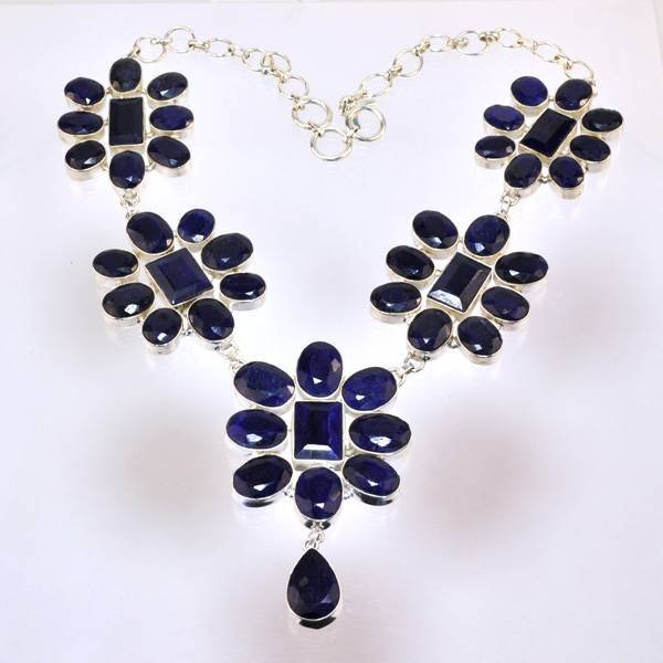 APP: 31k 324CT  Mixed Cut Sapphire & Silver Necklace