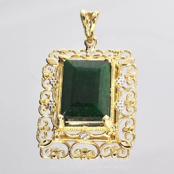APP: 10k 14kt White & Yellow Gold 10CT Emerald Pendant