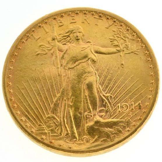 *1914-S $20 U.S Saint Gaudens Type Gold Coin