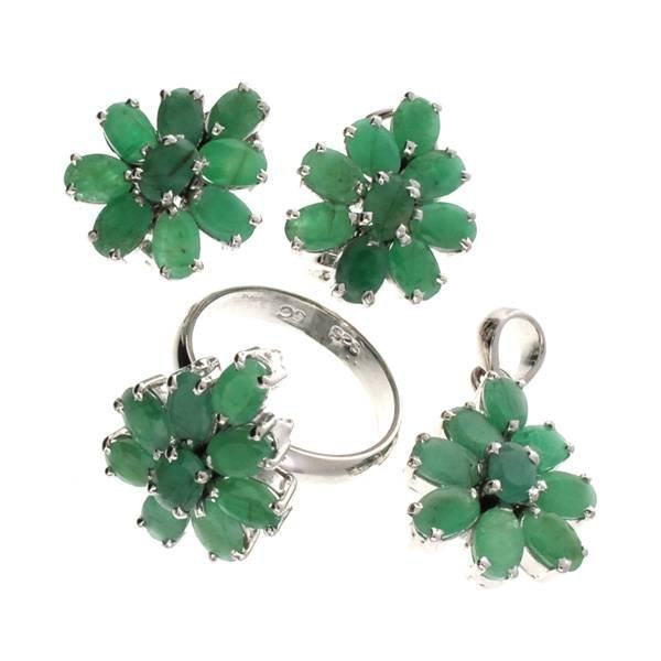 APP: 17k 12CT Emerald Silver Ring, Pendant, & Earrings