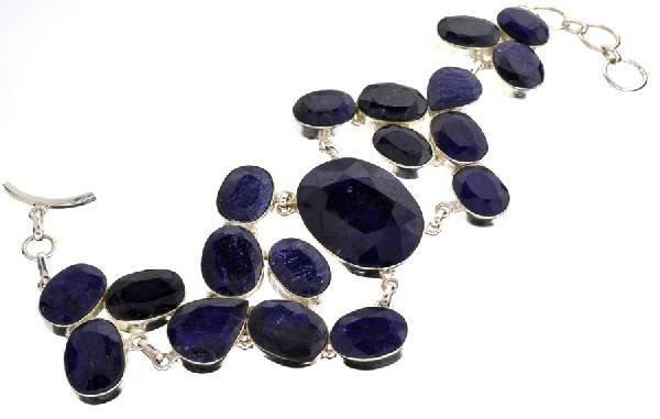 APP: 16k 222CT  Mixed Cut Sapphire & Silver Bracelet