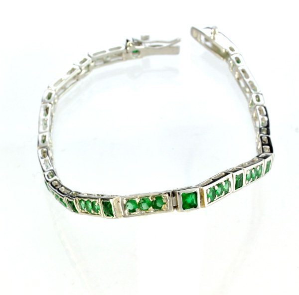Custom Made Silver Opal French Cubic Zirconium Bracelet